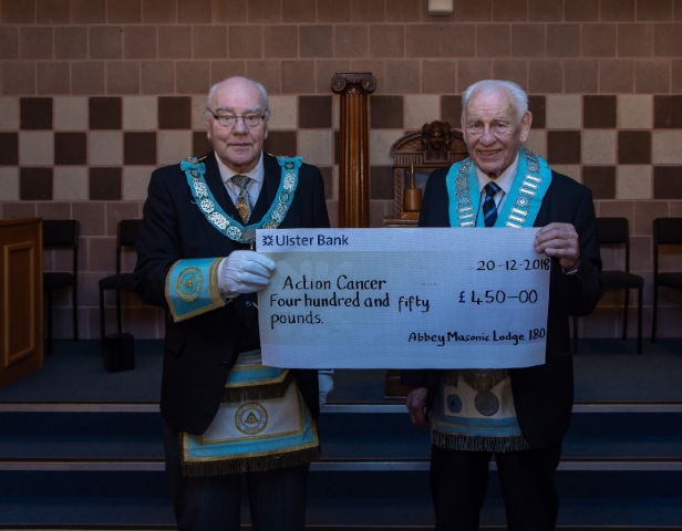 Abbey Lodge 180 donates presents 3 cheques to charity