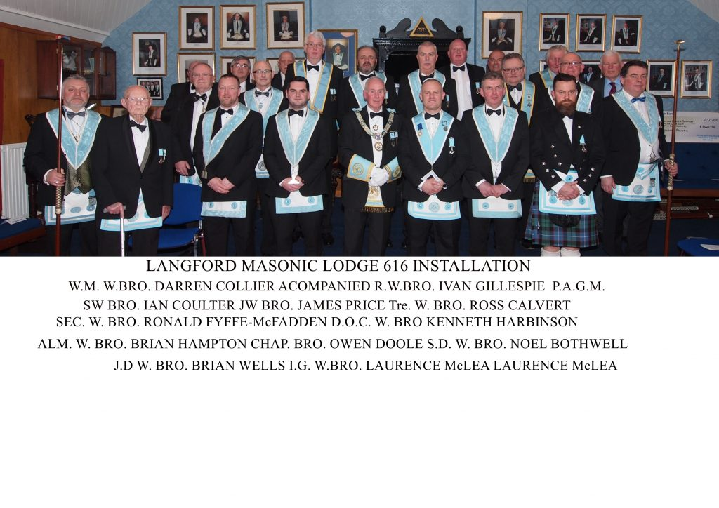 Langford Masonic Lodge No 616 Installation of Officers 2019