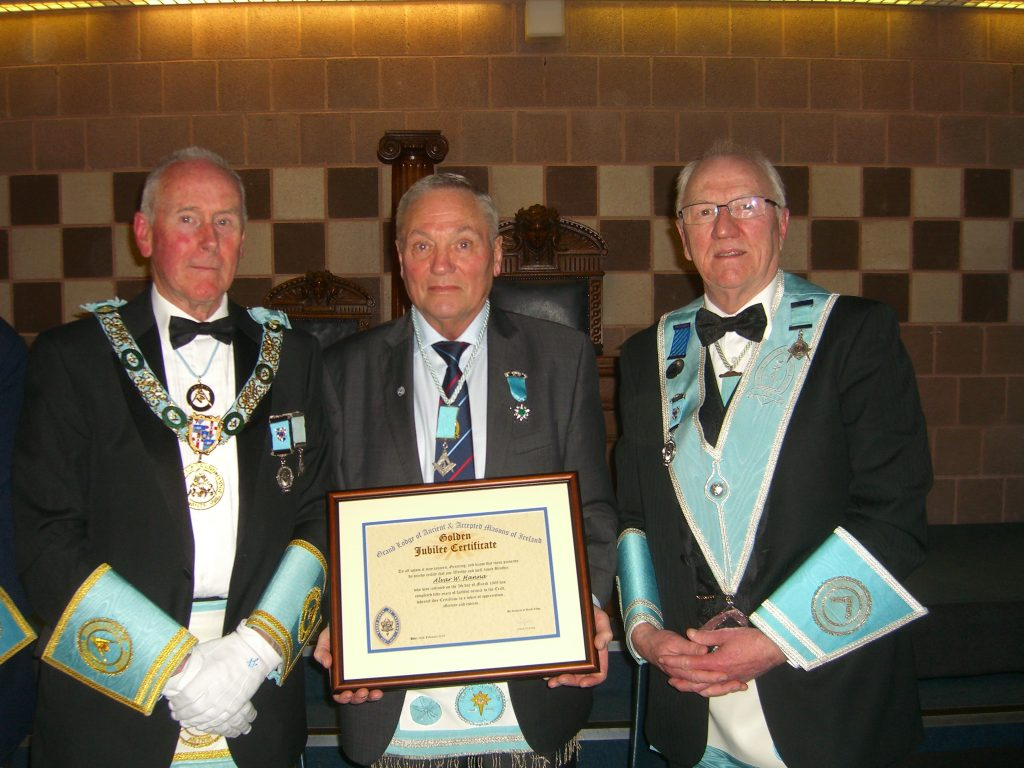 Congratulations to W.Brother William Hanna on receiving his 50 Year Jewel and Certificate.