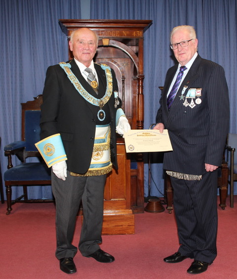 Presentation of a 50 Year Jewel and Certificate to R.W. Brother Robert Black