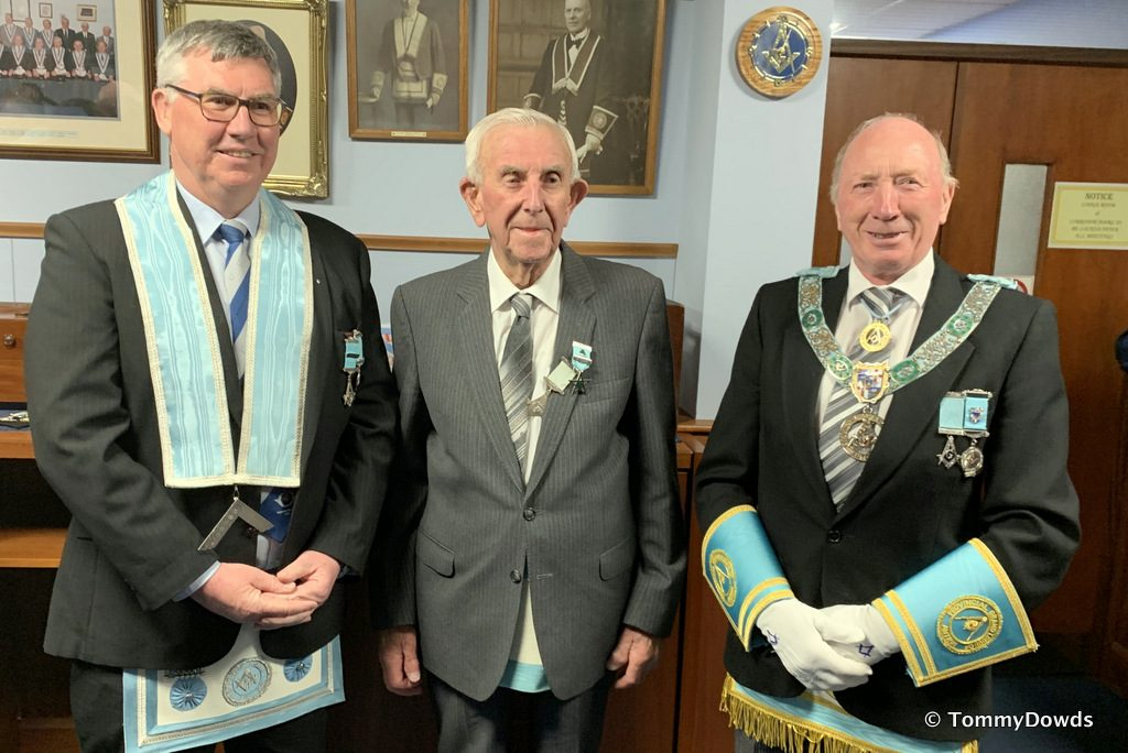 Worshipful Brother James Agnew was presented with his sixty year Jewel – Maghermorne 514