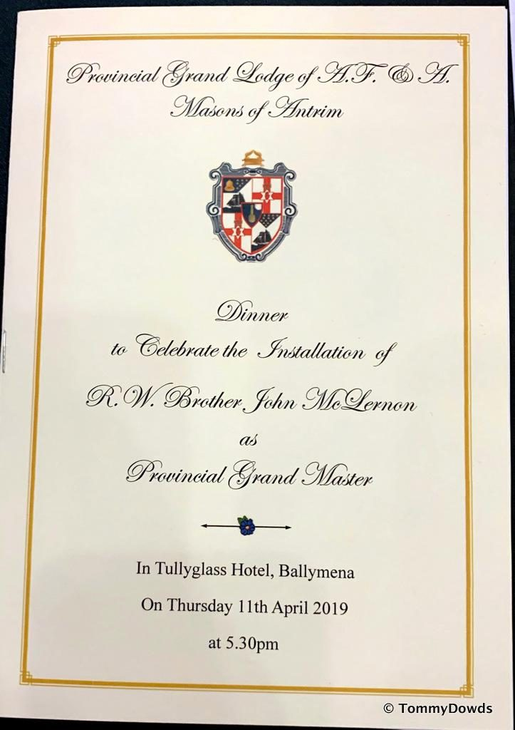 Installation Dinner for the New Provincial Grand Master of the Province of Antrim