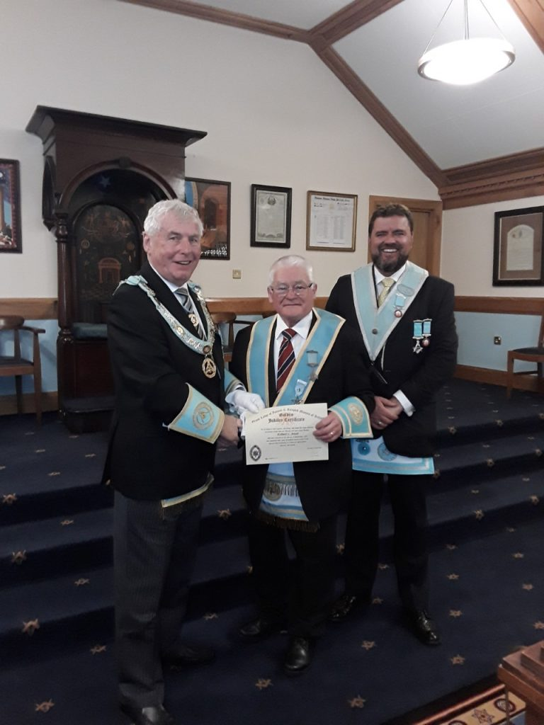 Congratulations to W. Bro. Robert Boyd of Lodge 1008 Portrush on receiving his 50 Year Jewel
