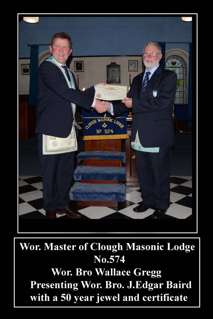 Wor. Bro.Edgar Baird 50 Year Jewel Presentation at Clough Masonic Lodge No 574