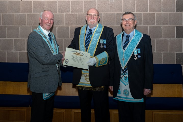 Congratulations to W.Bro. Bill Patterson on receiving his 50 Year Jewel & Certificate